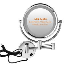 10x magnifying wall mounted vanity makeup mirror cosmetic led