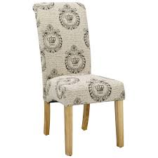 Details About Pack Of 2 Cream Printed Fabric Dining Seat Chair