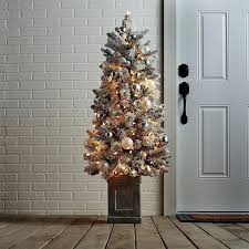 Snowy Pre Lit Christmas Tree Loading Slim Snow Flocked Spruce