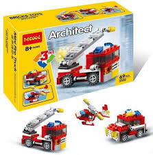 Decool Architect Mini Fire Truck 3 In 1 Building Blocks 69 PCS ...