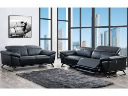 couchgarnitur leder mit elektrischer relaxfunktion 3 2 azidee schwarz
