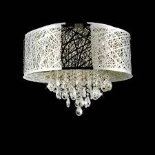 Picture Of 22 Web Modern Laser Cut Drum Shade Crystal Round Flush Mount Chandelier Stainless