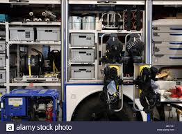 View Into The Compartments With Safety Clothes And Tools Of A ...
