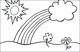 Free Printable Sun Coloring Pages For Adults Rainbow Kids Book With Clouds And Color