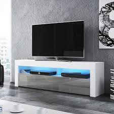 tv lowboard tv schrank in weiß schwarz mit hochglanzfronten