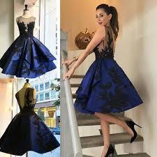 2017 navy blue backless short homecoming dresses sheer neck leaf