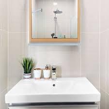 wandspiegel mit ablage spiegel zum aufhängen badspiegel holzrahmen flurspiegel aus bambus mdf natur grau