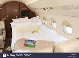 Interior of a private jet bed airplane Stock Royalty Free