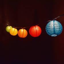 Multi Colored Round Paper Lantern Party String Lights 10 Socket