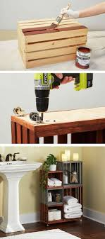 Turn Ordinary Wooden Crates Into Cool Bathroom Storage On Wheels