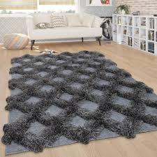 teppich wohnzimmer shaggy hochflor rauten skandi