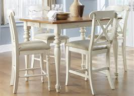 Ocean Isle 5 Piece X Back Chairs Counter Height Gathering Table Set In Bisque With Natural