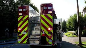 Close Up Fire Truck On Accident Scene With 4k Resolution. Stock ...