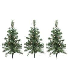 24 Green Pine Artificial Christmas Tree With Clear White Lights Set Of 3