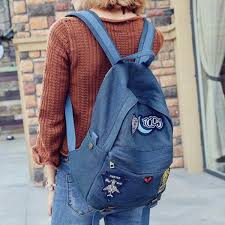 Fashion Denim Backpack With Patches For Girls Travel School Bags