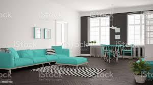 minimalistische helles wohnzimmer mit sofa und esstisch skandinavischen weiß und türkis innenarchitektur stockfoto und mehr bilder abstrakt