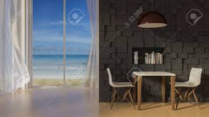 3d Rendering Image Of Table And Chair Infront Of The Dark Color..