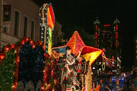 Parade Float Decorations In San Antonio by Fiesta Flambeau Parade Brings Light Color To Downtown