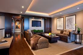 Inspiration For A Contemporary Dark Wood Floor Family Room Remodel In Chicago With Beige Walls And