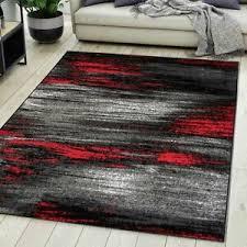 details zu teppich wohnzimmer modern design grau rot kurzflor s und mehr neu