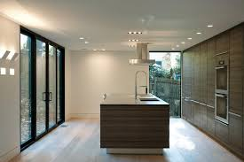square recessed lighting kitchen modern with wood cabinets