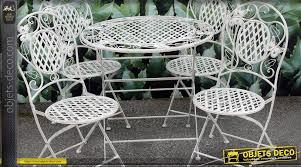 salon de jardin en fer forgé 1 table et 4 chaises
