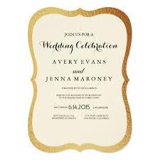 Vintage Rustic Gold Foil Border Wedding Invitation