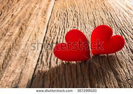 Two Red Heart In Love On Rustic Wood Background Valentines Day 367299020