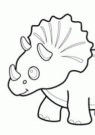 Funny Dinosaur Triceratops Cartoon Coloring Pages For Kids Printable Free