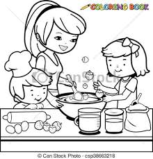 Mother And Children Cooking Vector