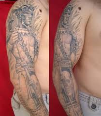 Grey Ink Mayan Warrior Sleeve Tattoo