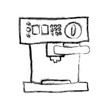 Monochrome Sketch Hand Drawn With Coffee Maker In Front View Vector Illustration Stock