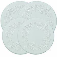 Electric Stove Top Range Round Embossed Design Burner Covers Set Of 4 White