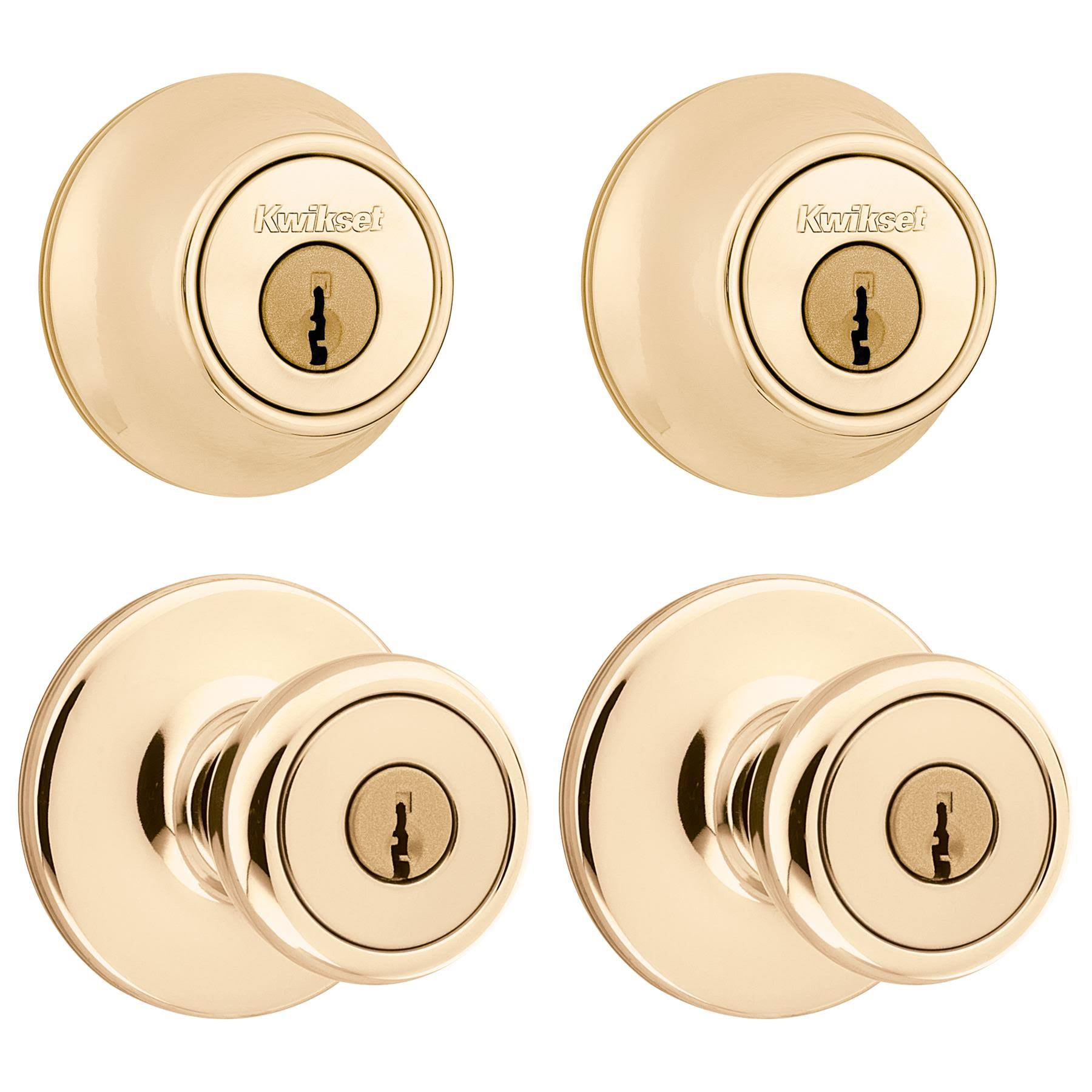 Kwikset Tylo Polished Brass Exterior Entry Knob and Single