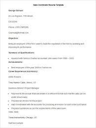 Sample Sales Coordinator Resume Template