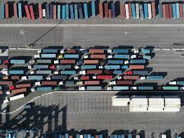 100 Shunting Trucks Aerial View Semi Trucks With Containers In Sunny Shunting Yard Los