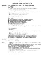 Download Vehicle Technician Resume Sample As Image File