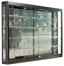 Wall Units Mounted Tempered Glass And Black Aluminum Display Cas Acrylic Cases
