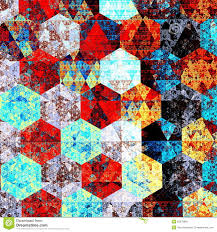 Modern Abstract Art Composition Artistic Textile Pattern Design Psychedelic Style Red Blue Background
