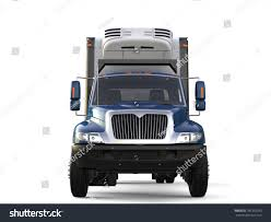 Blue Cargo Refrigerator Truck - Front View - 3D Illustration | EZ Canvas