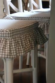 French Script Chair Cushions by Lovely Lake House Tour Grey Gingham Chair Covers Kitchen
