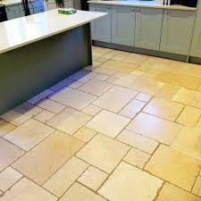 clean and seal of a limestone tiled kitchen floor in