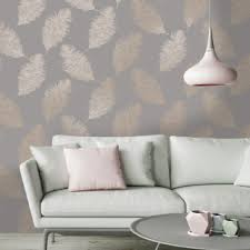 Holden Decor Fawning Feather Grey Rose Gold Metallic Wallpaper
