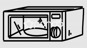 Microwave Oven line drawing illustration animation with transparent background Video
