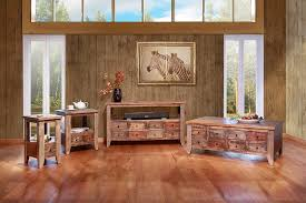 Rustic Living Room Furniture With Wooden Floor And Table Wall