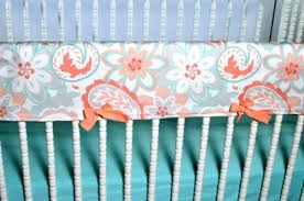 lavender linens three piece bumperless crib bedding in coral gray