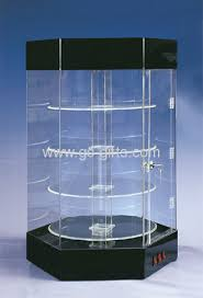 White Tall Rotary Acrylic Display Cabinets Jewelry Stands