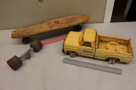 Vintage Tonka Truck And Wooden Skateboard