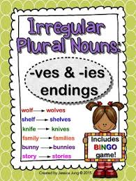 Irregular Plural Nouns ves and ies Endings includes BINGO game