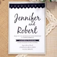 Simple Modern Black Lace Layered Wedding Invitations EWLS038